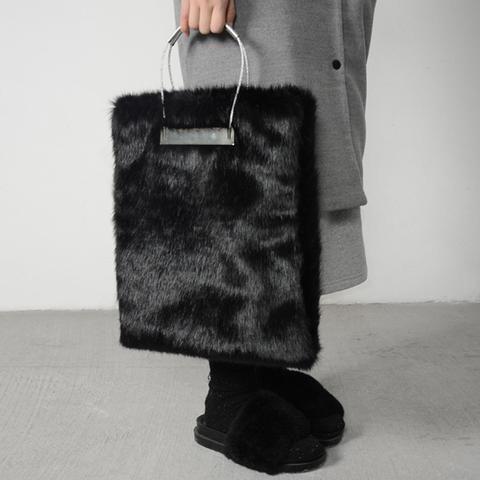 Winter Fur Women Handbags Designer Leather Tote Bags Ladies Clutch Bolsas Femininas Party Evening Bag