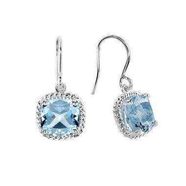 boucles d'oreilles en argent avec topazes bleues