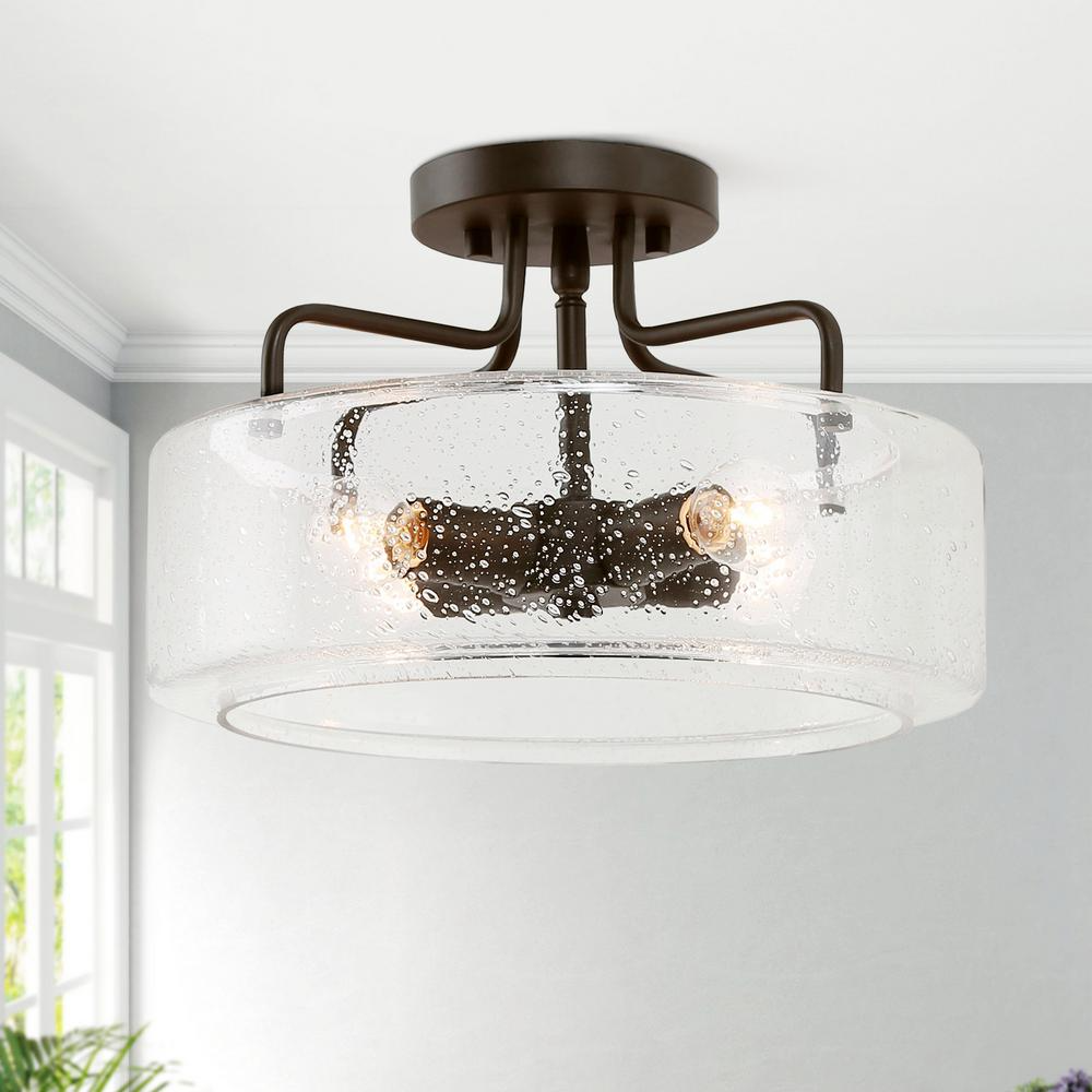 Lnc Etilka 12 In 4 Light Oil Rubbed Bronze Semi Flush Mount Ceiling Light With Seeded Glass Shade Led Compatible E6fvyjhd1367597 The Home Depot Flush Mount Ceiling Lights Ceiling Lights Flush Mount Ceiling Seeded glass flush mount light