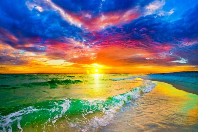 Purple Red Sunset And Beautiful Ocean Sunset Beach By Eszra Tanner Beautiful Ocean Pictures Ocean Sunset Beautiful Ocean