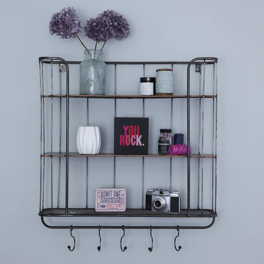 Three Shelf Metal Wall Rack | Wall racks, Kitchen storage units and ...