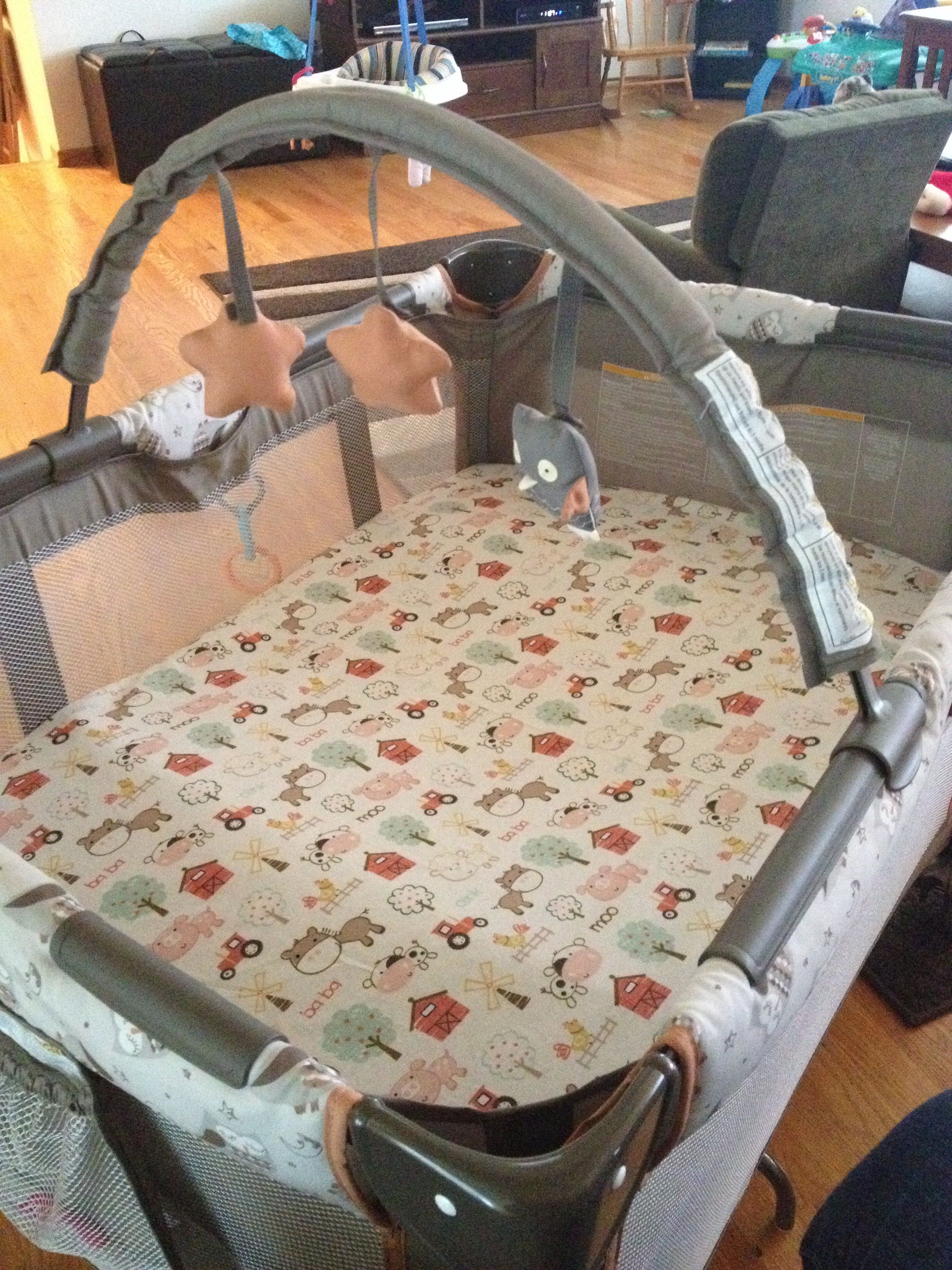 Home made pack and play sheet, made with 1 yard of fabric