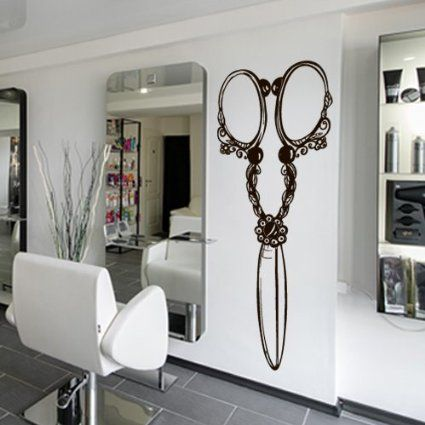 Wall decal vinyl sticker decals art decor design hair salon scissors retro curls beauty hair - Stickers salon design ...