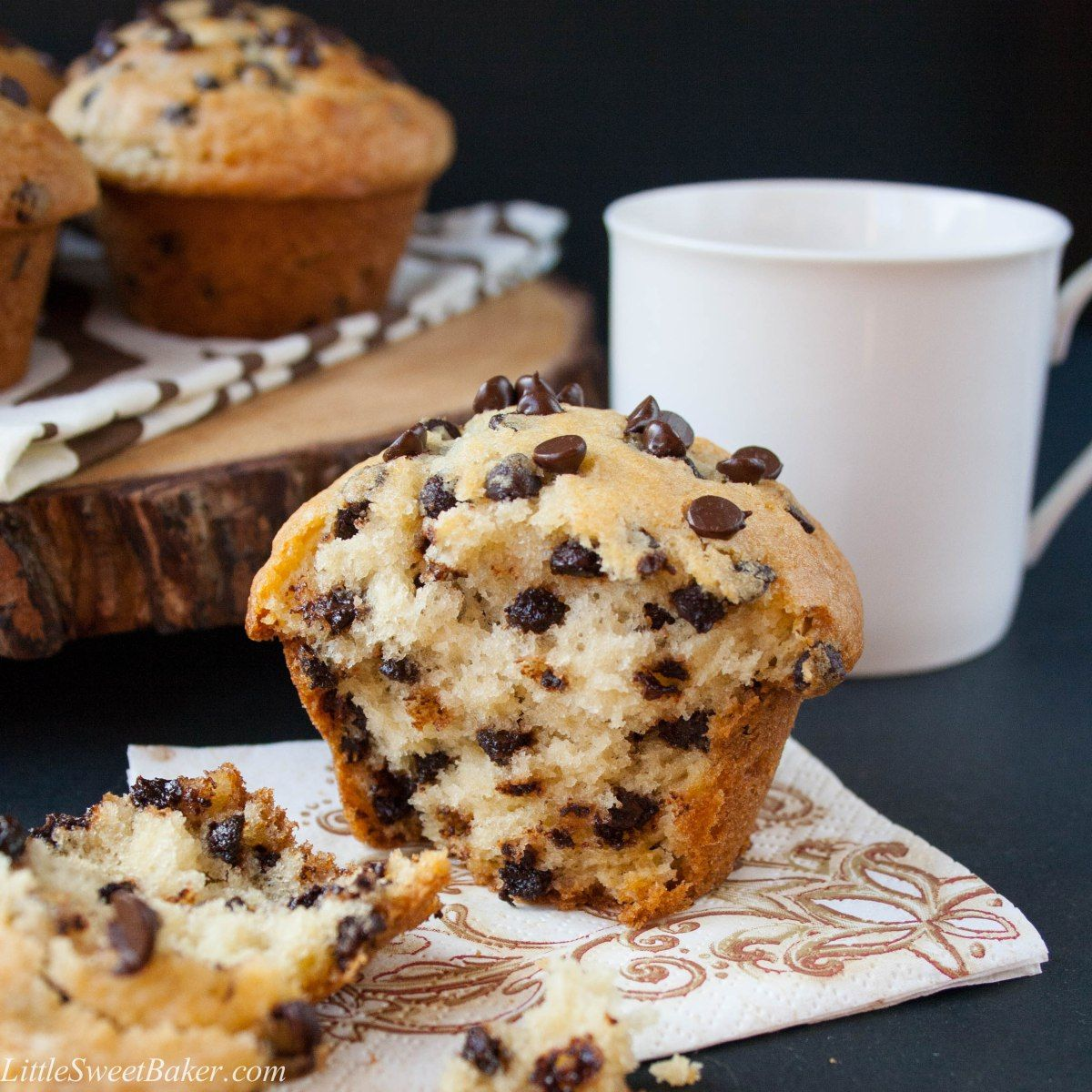 Bakery Style Chocolate Chip Muffins   Recipe   Chocolate chip ...