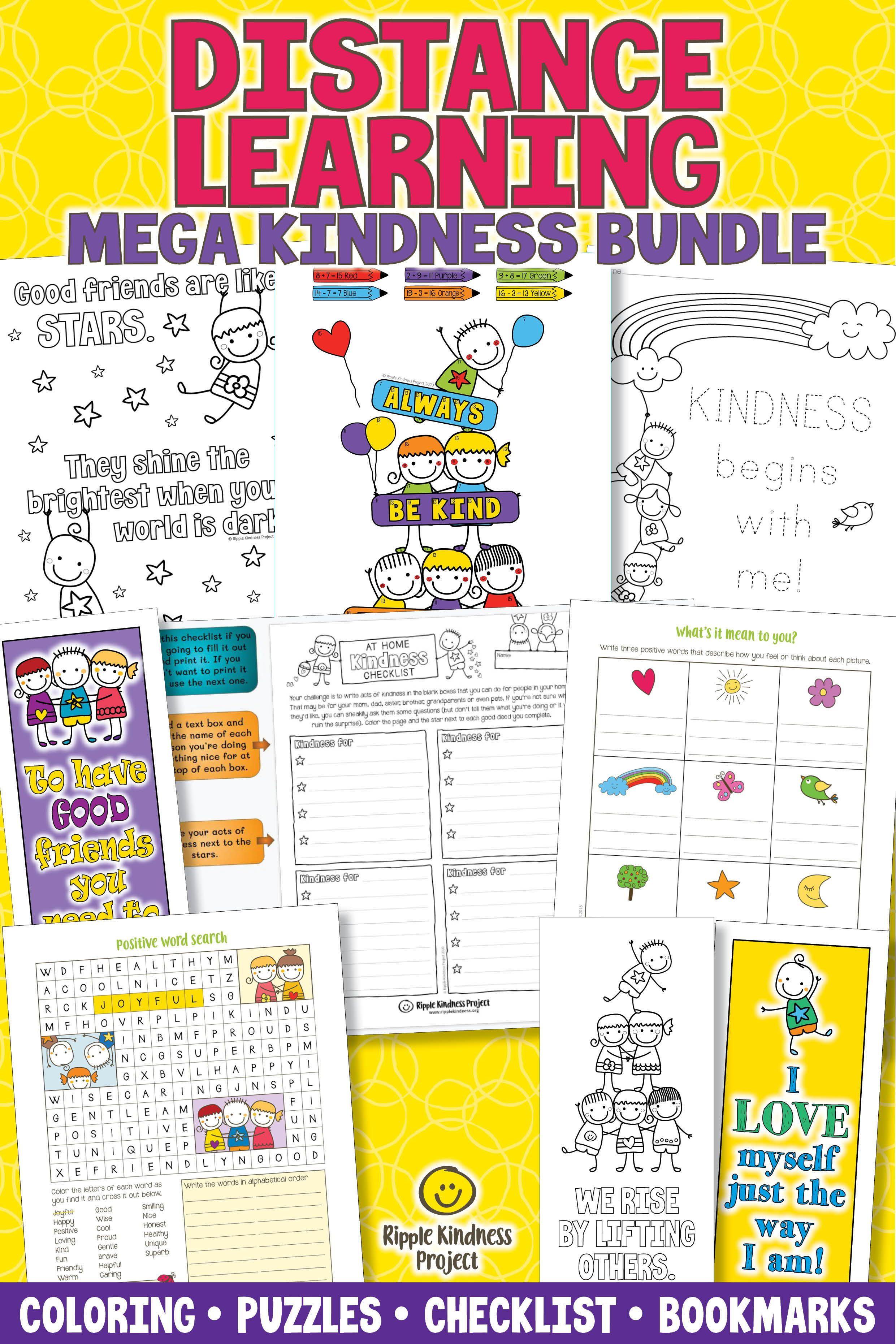 Kindness Coloring Pages Word Search Bookmarks