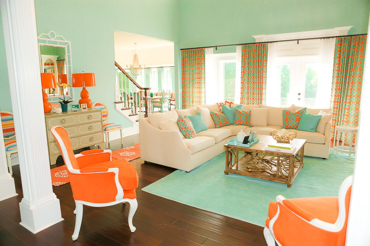 exciting red blue living room ideas | Coral and Tiffany blue living room. This would be so cute ...