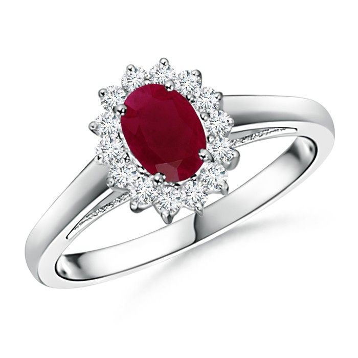Angara Diamond Halo Ruby Vintage Engagement Ring in Platinum CWb58d