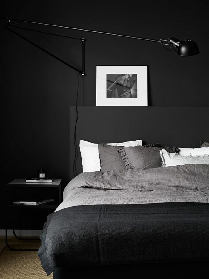 Black Linen Bed Linen, Black Wall And Lamp, Male Decor
