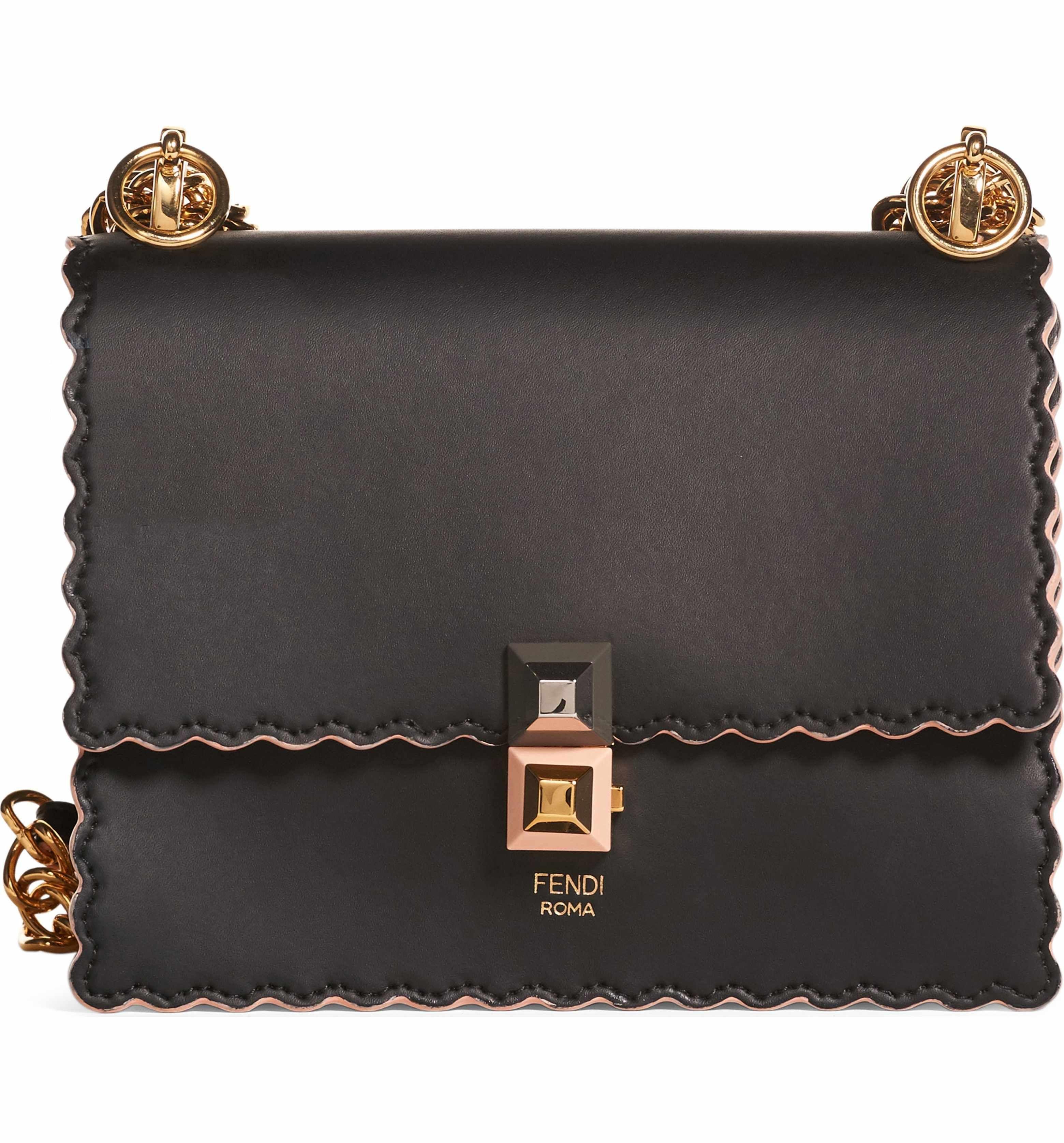 111fbbb575e6 Main Image - Fendi Small Kan I Scallop Leather Shoulder Bag Leather Purses