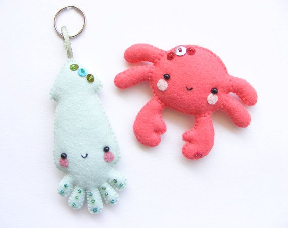 PDF pattern - Squid and crab - Felt key ring and magnet, easy sewing pattern…