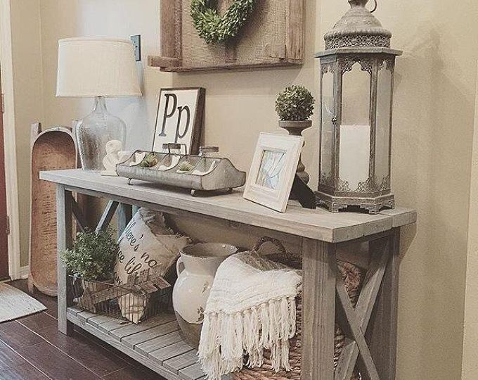 Rustic Console Entryway Table Home Decor Accessories Fall