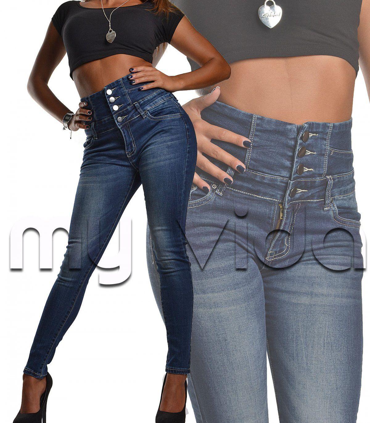 Moda Jeans a Vita Alta con Bottoni Aderenti per Donna Pantaloni