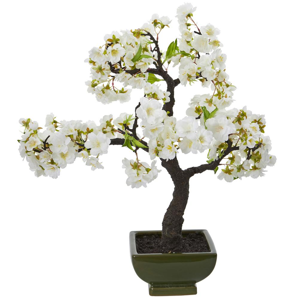 Nearly Natural Cherry Blossom Bonsai Artificial Tree 4217 The Home Depot Flowering Bonsai Tree Artificial Cherry Blossom Tree Cherry Blossom Bonsai Tree