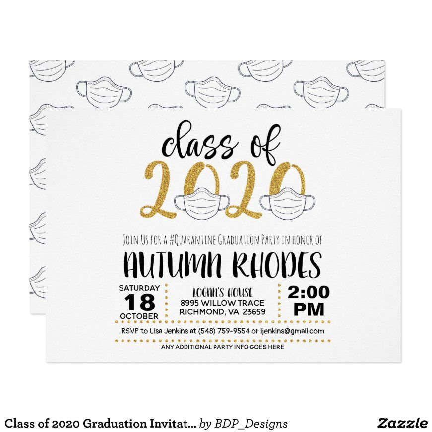 Class of 2020 graduation invitation face mask gg
