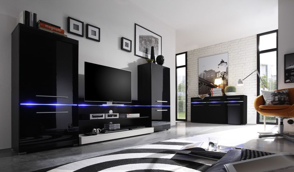 black high gloss living room furniture modern decor for a small wall unit flash in white incl