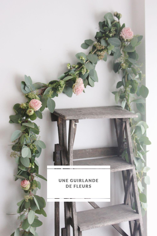 diy une guirlande de fleurs mariage guirlande de. Black Bedroom Furniture Sets. Home Design Ideas