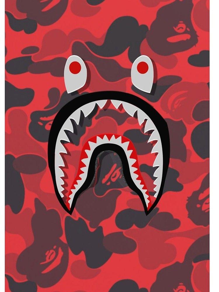 Red Bape Shark Iphone Case Bape Wallpaper Iphone Bape Shark Wallpaper Hypebeast Iphone Wallpaper