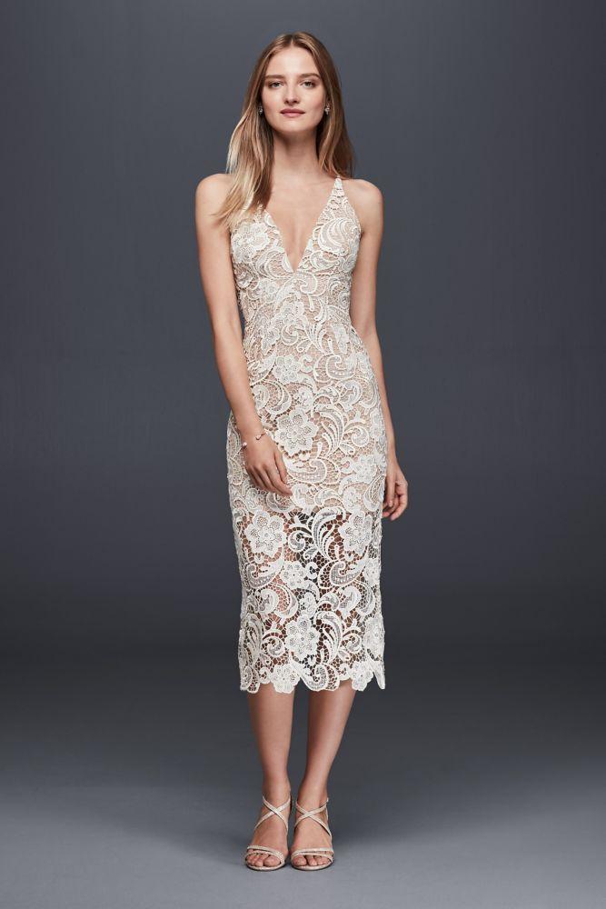 Illusion Lace Mid Length Sheath Wedding Dress Ivory Nude Xl