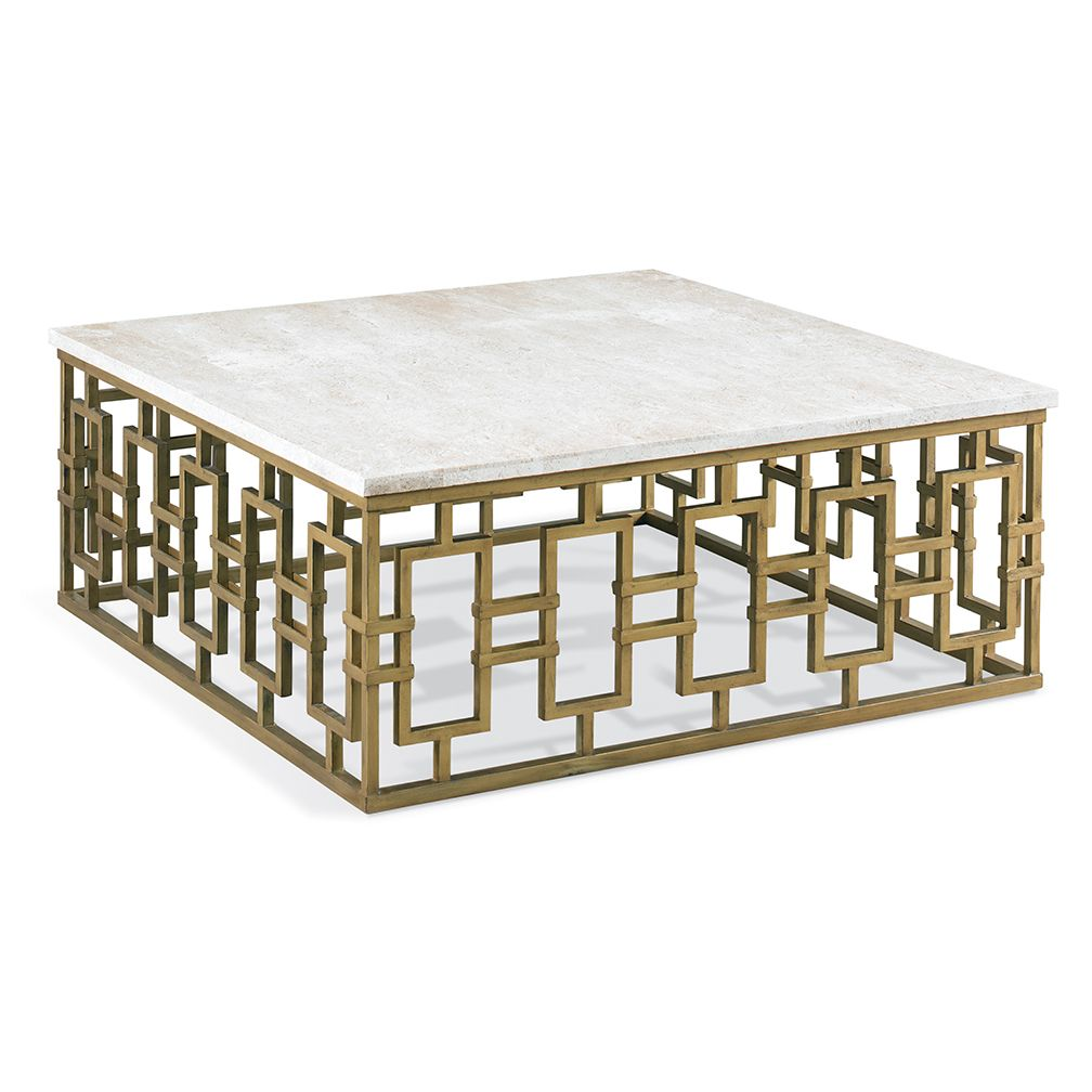 Dor travertine cocktail table coffee table square