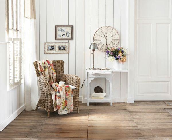 Hölzerne Ausstattung zu Hause - Rattan Sessel Casa de Campo - wandgestaltung landhausstil wohnzimmer
