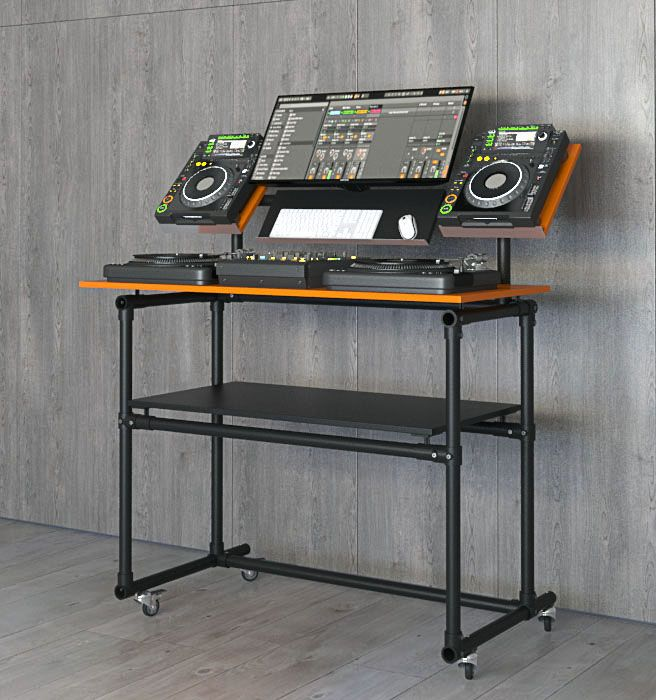 den ultimativen dj tisch zum selber bauen anleitung dj pult desk im industrial design. Black Bedroom Furniture Sets. Home Design Ideas