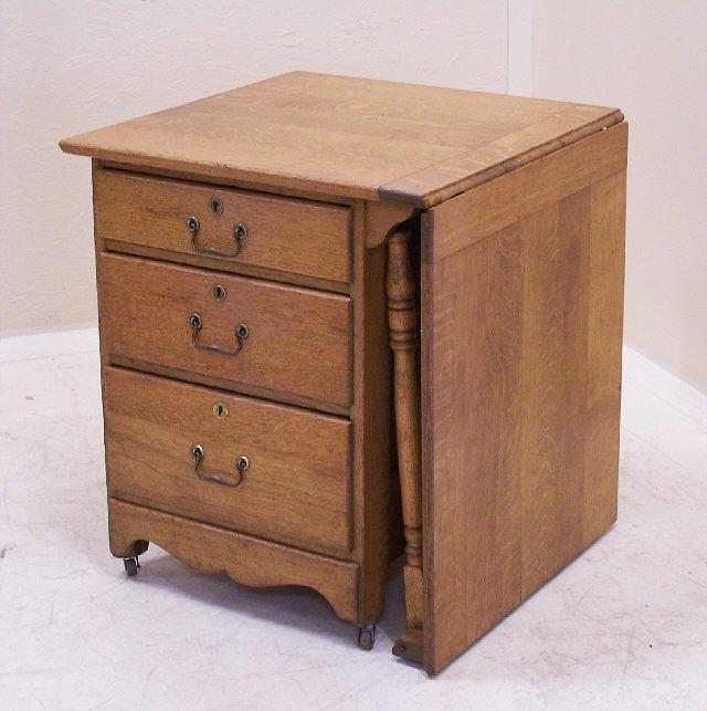 Antique Victorian Larkin Oak Sewing table   Sewing Table Ideas ...