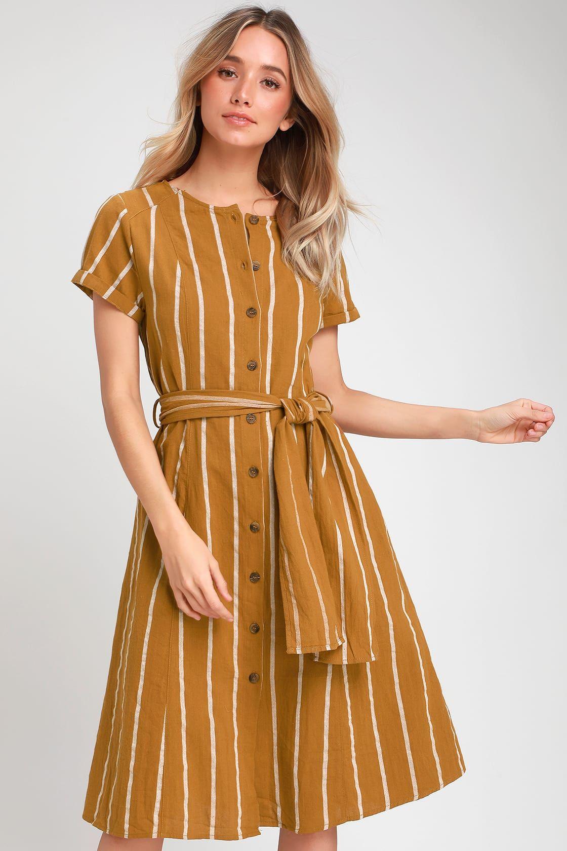 eb656dcc0d4fb Lulus   Epitome Dark Mustard Yellow Striped Midi Shirt Dress   Size ...