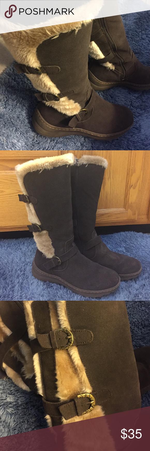 Faux fur lined boots Faux fur lined boots. Leather upper. Gently worn. BareTraps Shoes Winter & Rain Boots