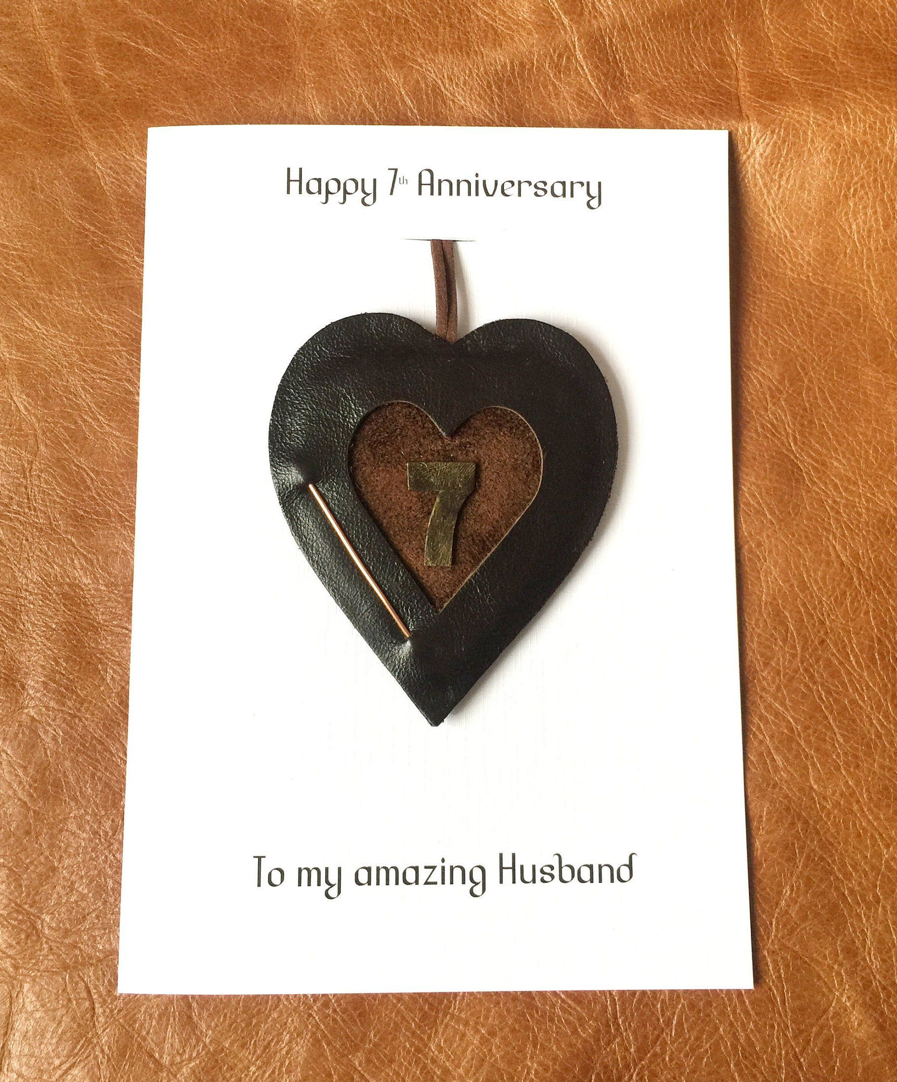 7th wedding anniversary card leather heart copper handmade