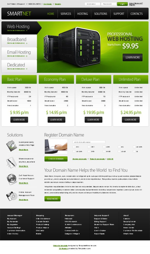Free Html5 Template For Hosting Website By Templatemonster