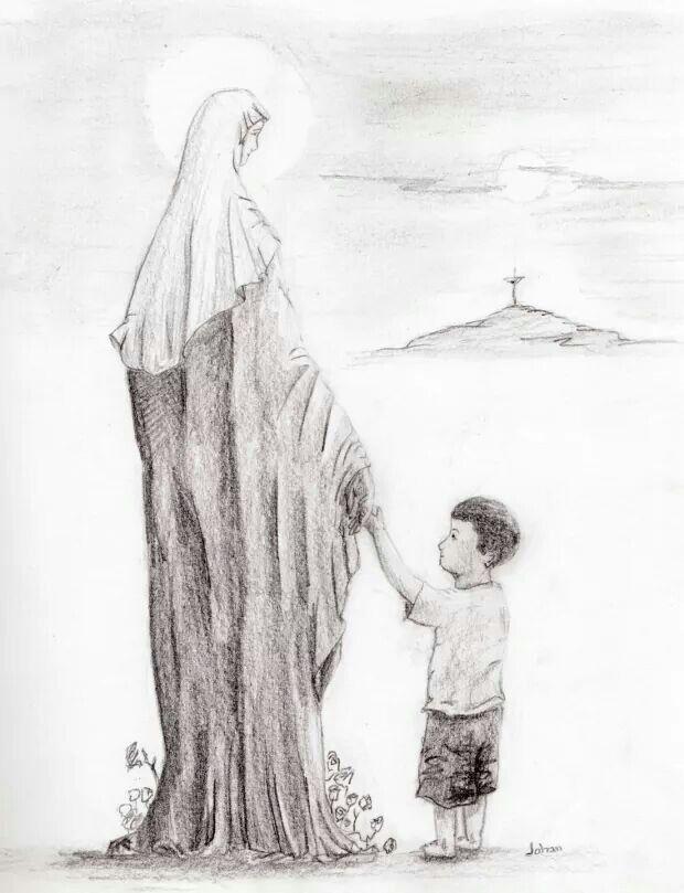 Dibujo de un devoto  De la mano de Maria  Mama Maria  Virgen