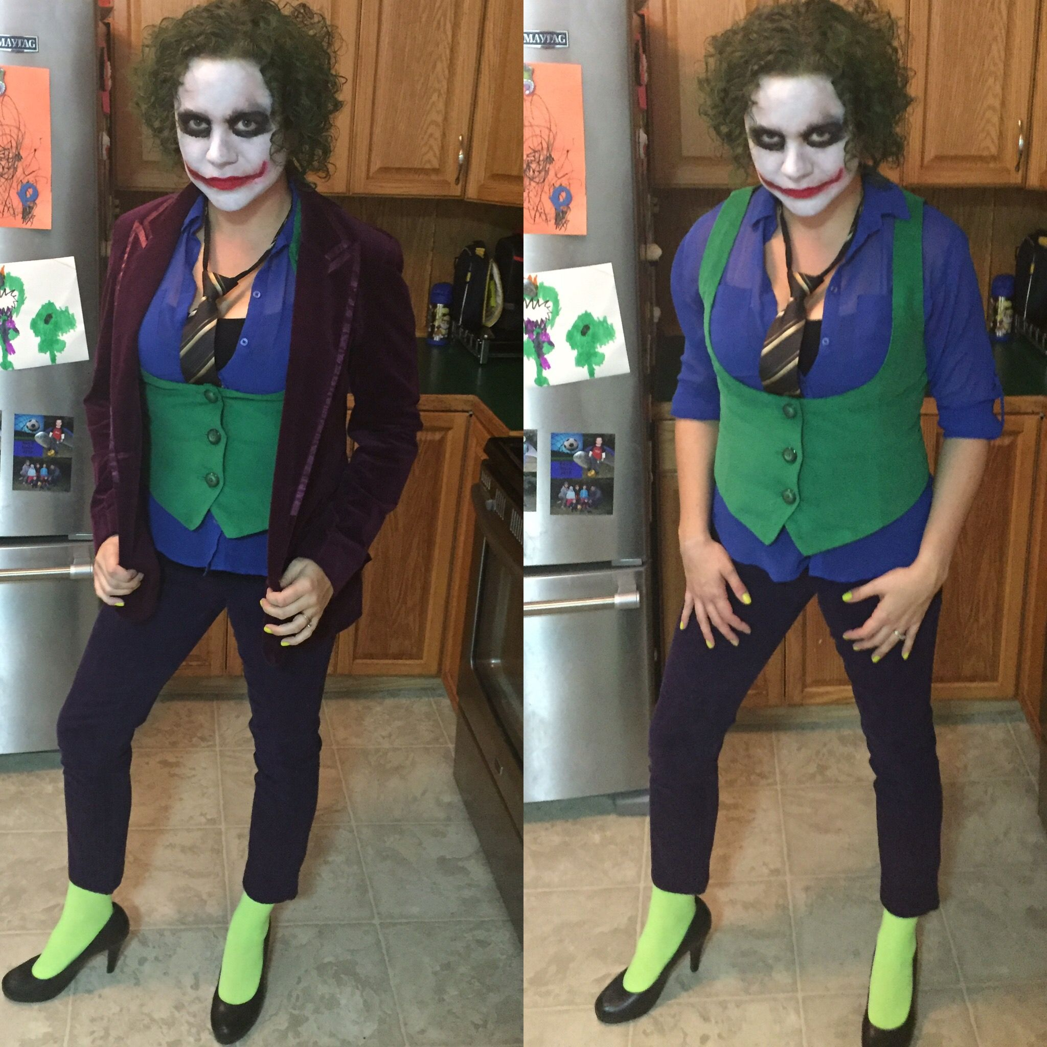 Diy Female Joker Costume The Vest Was Made With Green