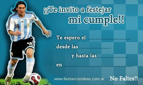 Click Aquí Para Imprimir La Invitación De Lio Messi