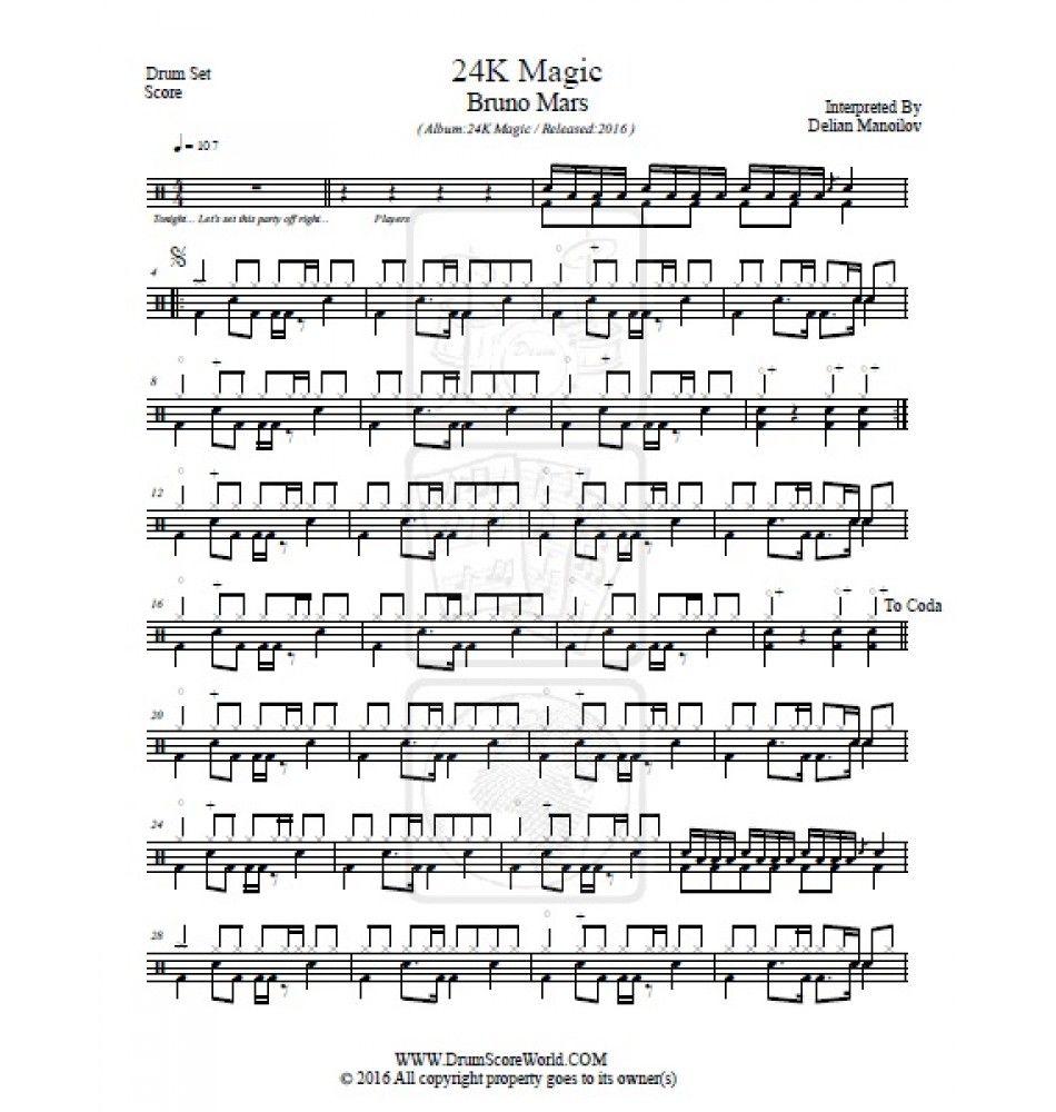 Bruno Mars - 24K | Drum Score World | Pinterest | Bruno mars and Scores
