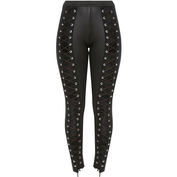 Black PU Eyelet Lace Up Skinny Trousers (145.580 COP) ❤ liked on Polyvore featuring pants, skinny trousers and skinny pants
