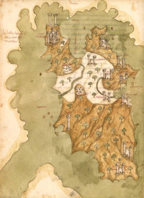 Map Of Lesbos Liber Insularum Arcipelagi 1465 1475 Ancient