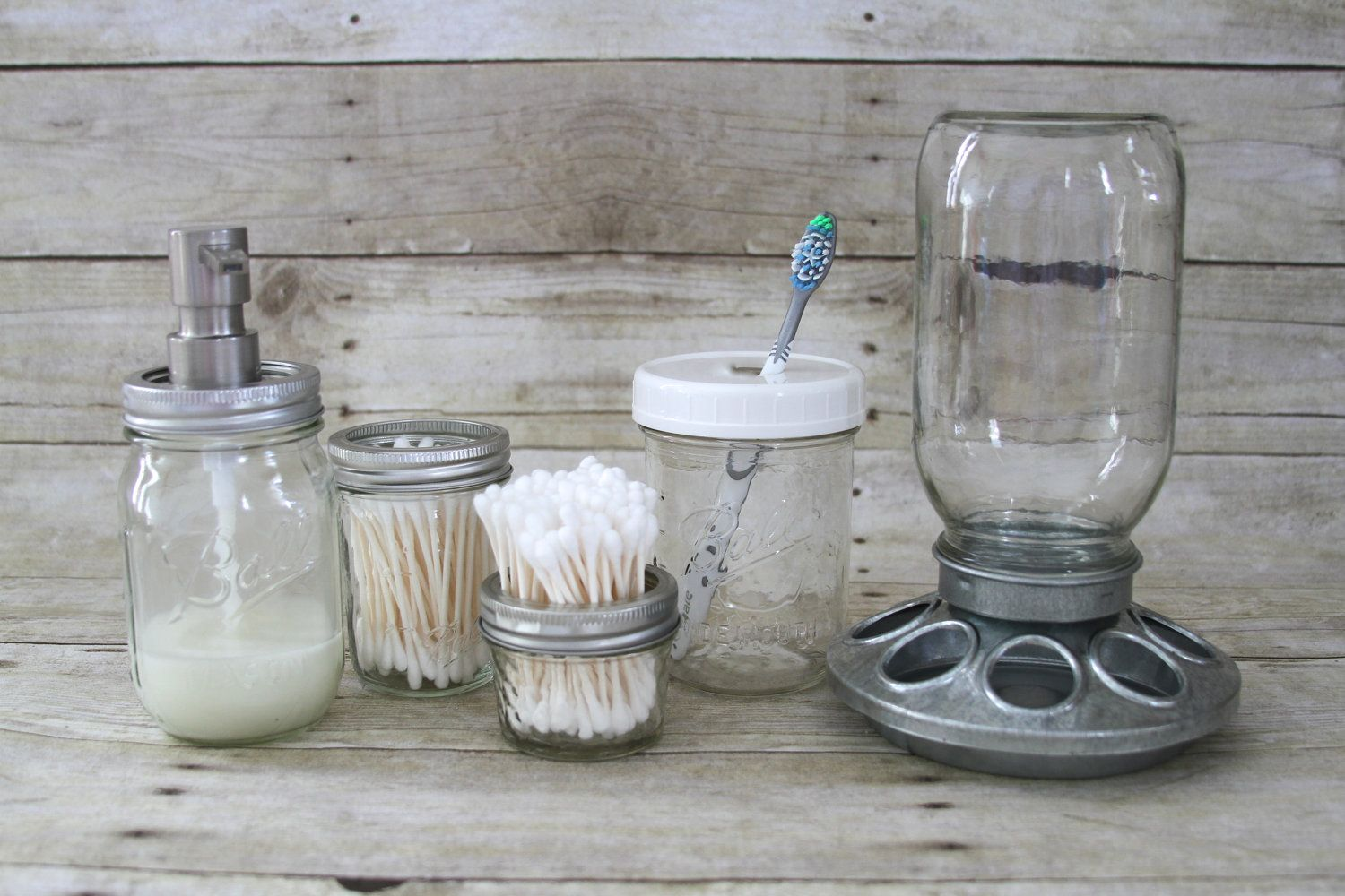Diy Mason Jar Cotton Ball Qtip Holders Whole Project Was 6 99 With 50 Off Sale Lids From Michaels And 3 Mason J Mason Jar Bathroom Mason Jars Mason Jar Diy