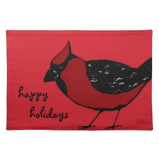 CARDINAL BIRD HAPPY HOLIDAYS Placemat