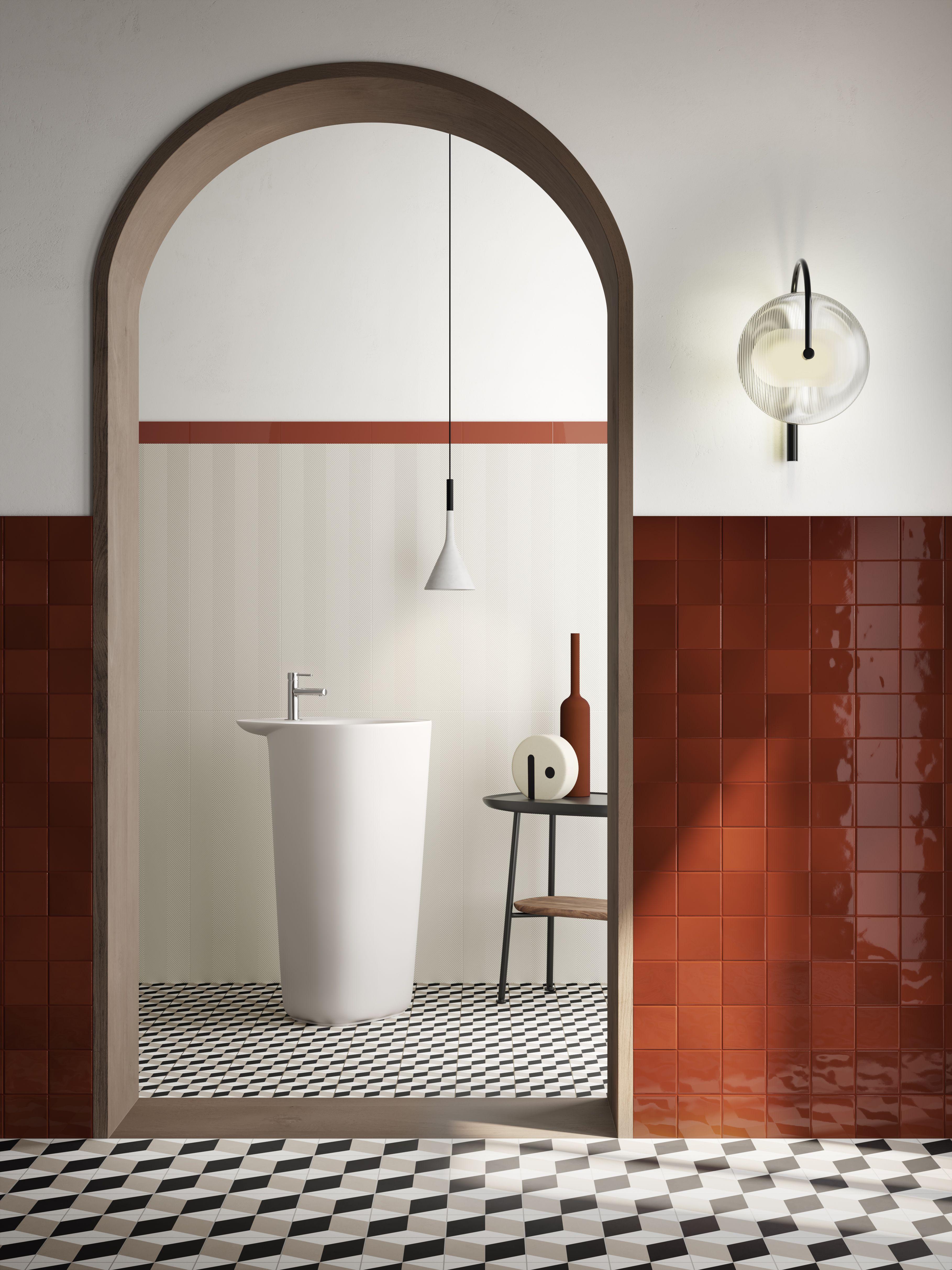 salle de bain carrelage porte orange rouge terracotta blanc noir carreau ciment sol mur idee salle de bain idee decoration appartement salle de bain