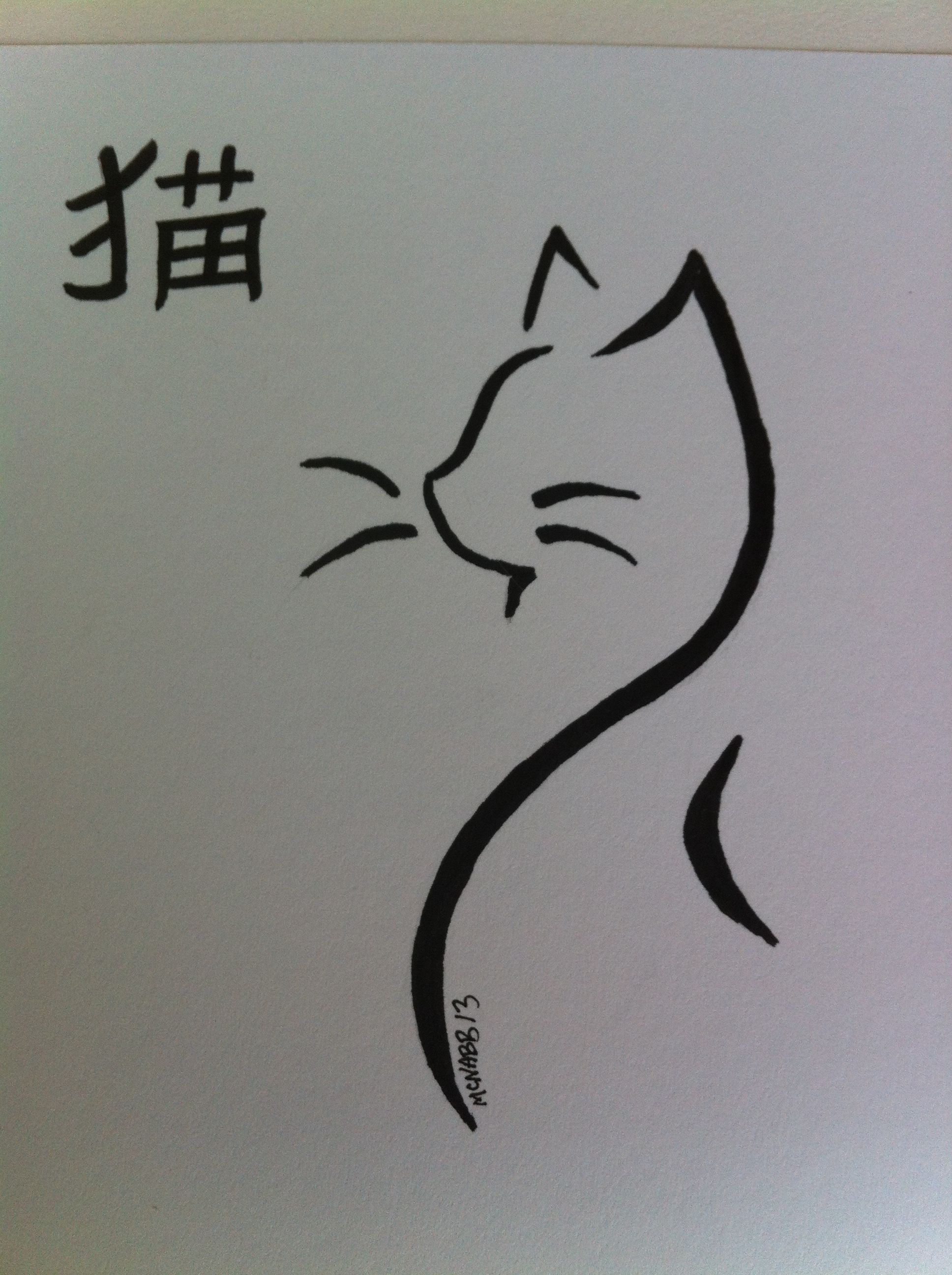 Copic Japanese Cat Drawing. Words Cat