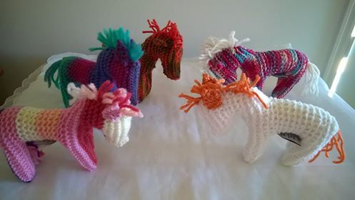 Some of the horses that will be available at festiValley, Samford Valley Steiner School, Narrawa Drive, Wights Mountain on 29 August 2015.  Made from pure wool and stuffed with wool fleece.  $15 each on the day or plus postage.