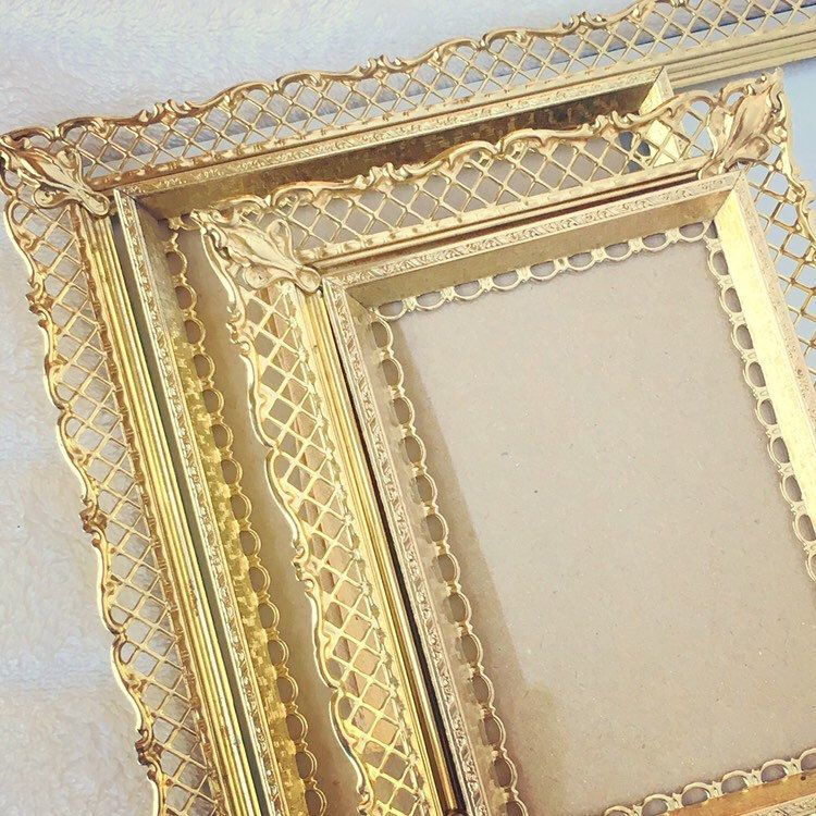Gold Vintage Metal Picture Frames Filigree Corners Lot Of 4 Enamel 8x10 5x7 And 3 5x5 Inch Frames Unique Corner Details Metal Picture Frames Picture Frames Vintage Metal