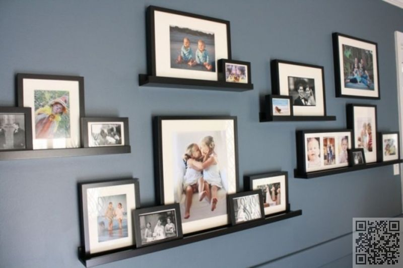 Staggered Ledges Wall Gallery Picture Arrangements Decor
