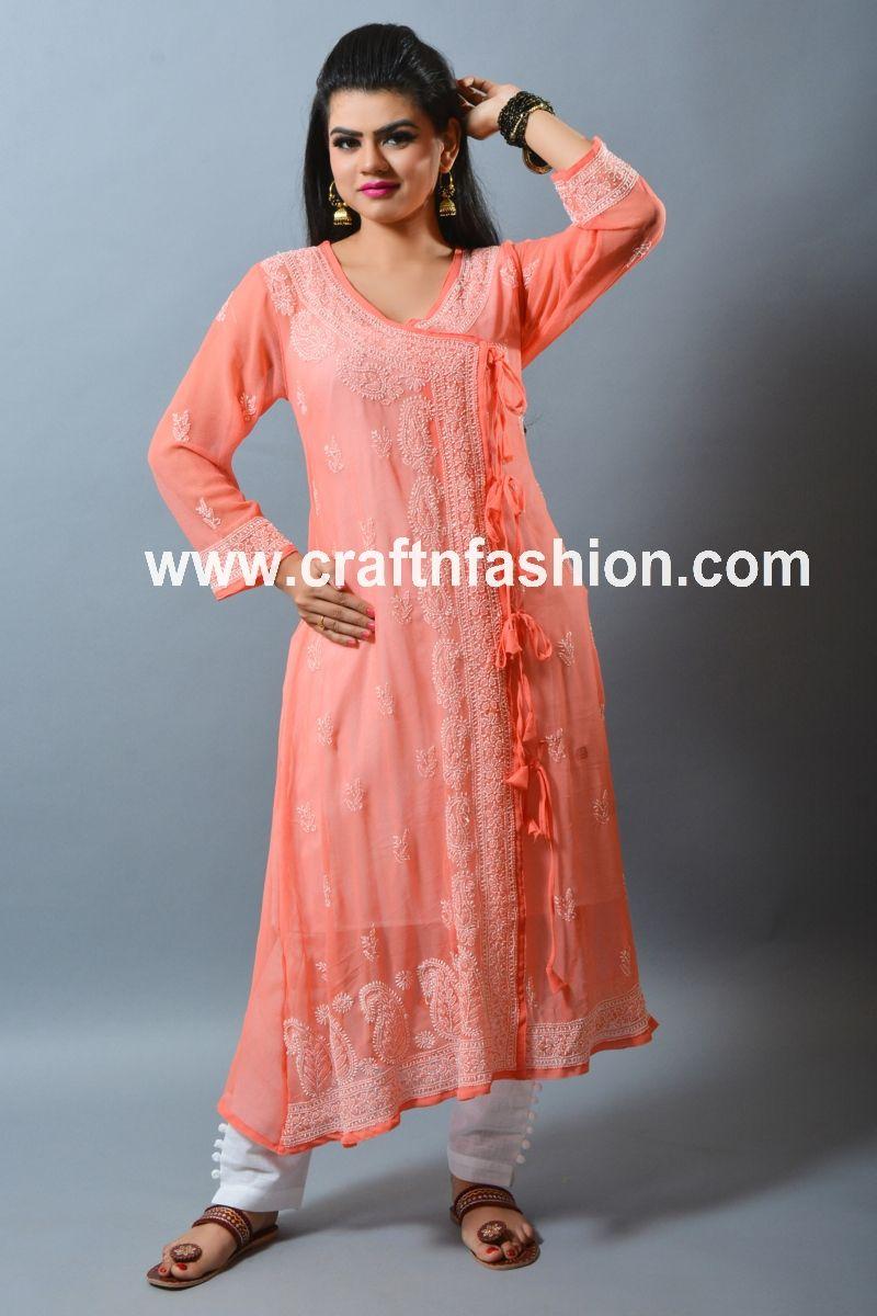 Beach WearParty Wear Long Top Indian Ethnic Kurti Chikankari Embroidered Kurti Women Fashion Long Top Lucknowi Georgette Dress