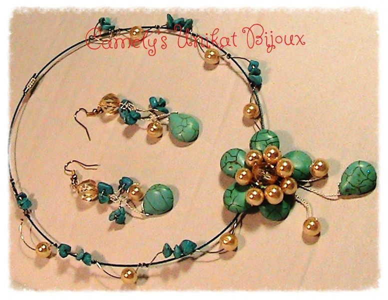 Gemstone Jewellery – Turquoise & Pearls NECKLACE ,Wire Wrap – a unique…