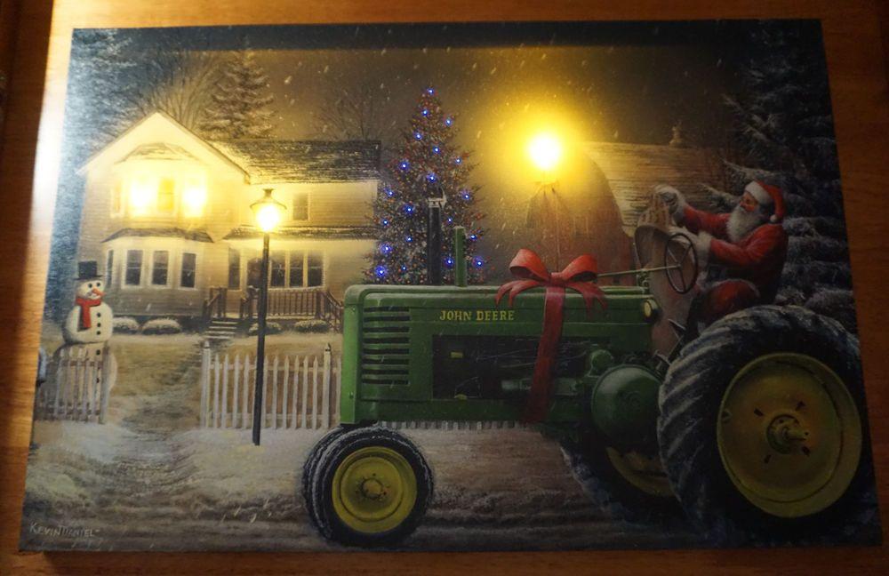SANTA JOHN DEERE TRACTOR Lighted LED Timer Christmas Tree Farm ...