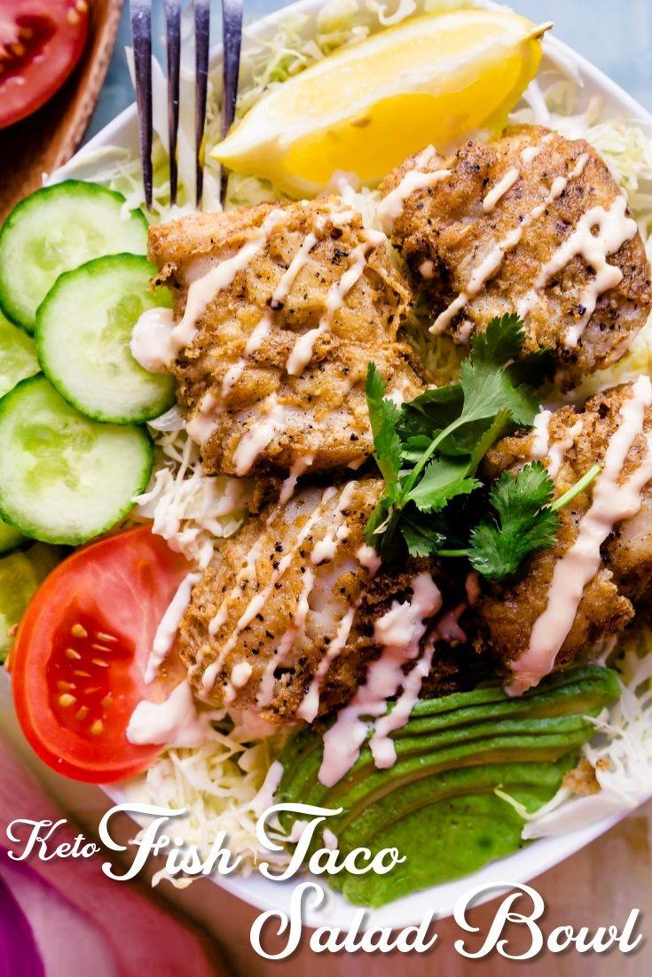Keto Fish Taco Salad Lowcarbingasian Pin 2 Recipes Fish Taco Salad Low Carb Keto Recipes