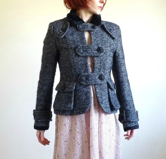 Vintage Military Style Wool Jacket in Black and by VanillaGrass, $65.00