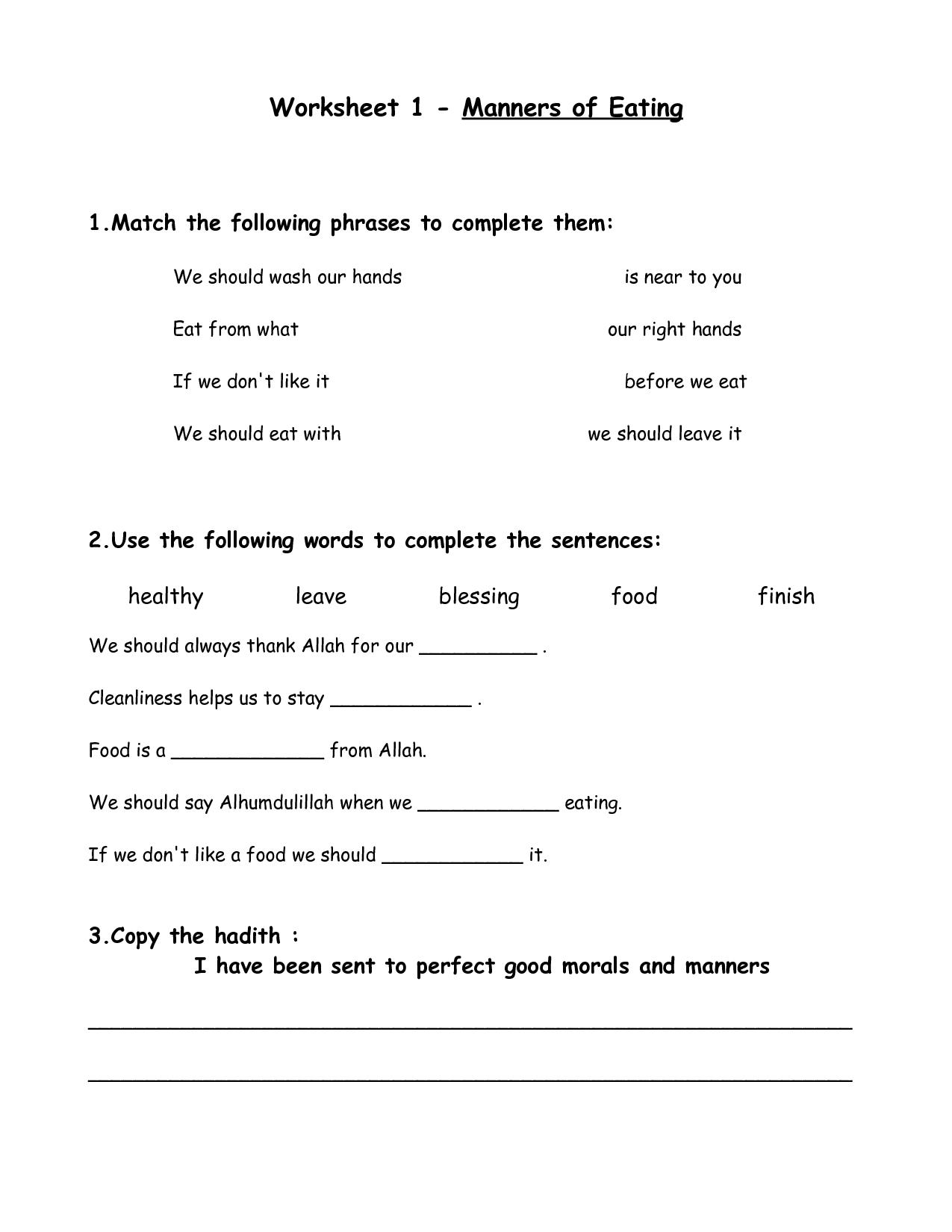 Table Manners Printable Worksheets Worksheet 1