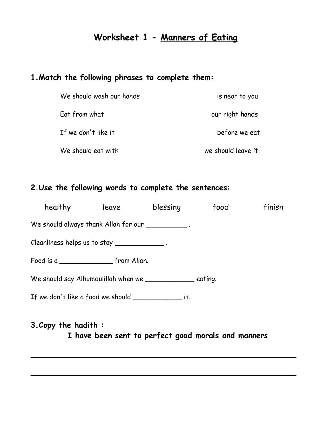 Table Manners Printable Worksheets Worksheet 1